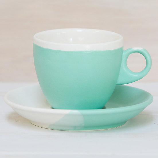 ceramic pottery cup and saucer abbots matte turquoise glaze coastal colours by starfish photos | design