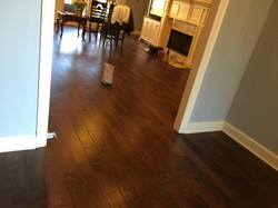 Living area wood floor installation