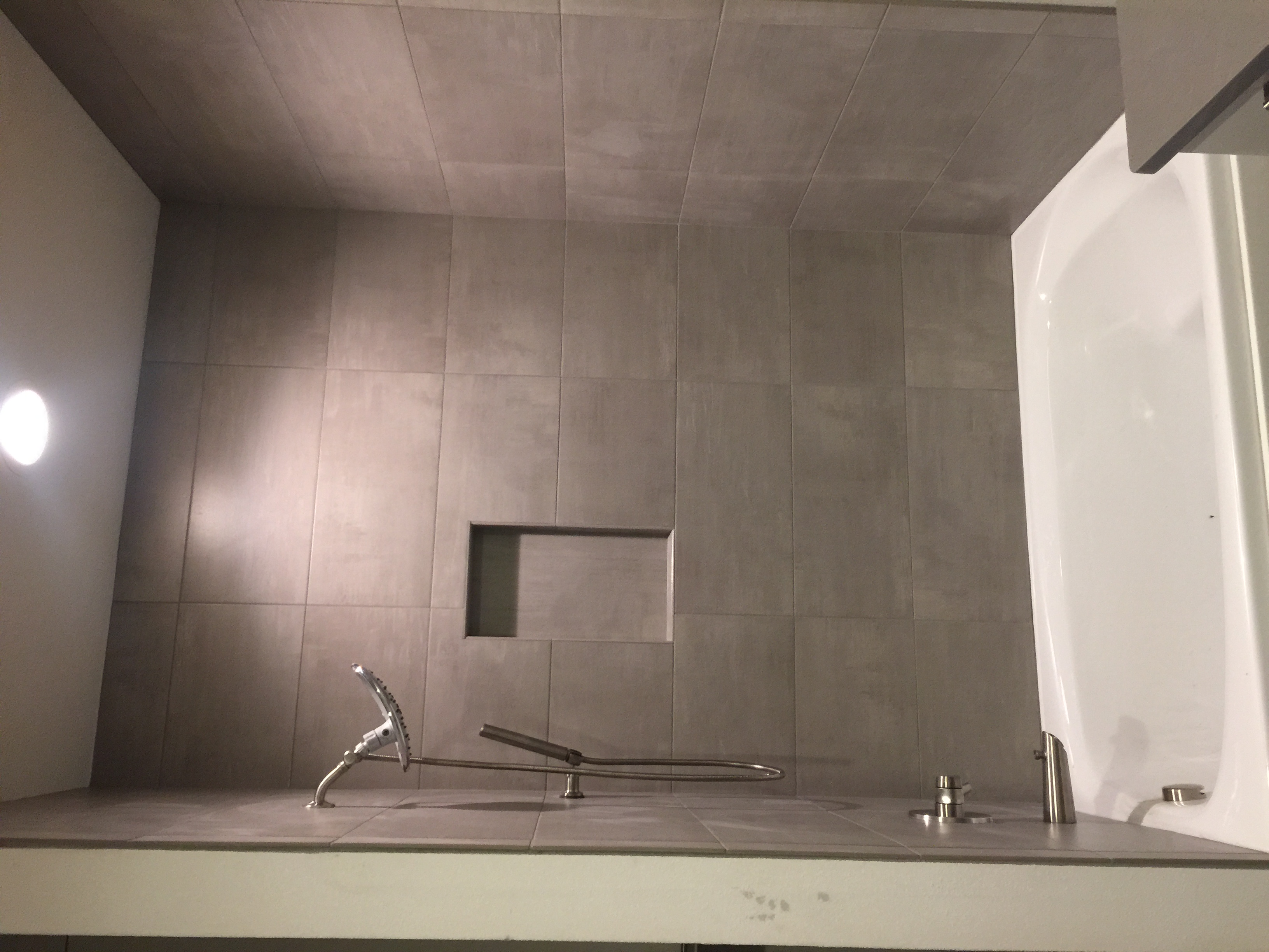 Tile installation in shower