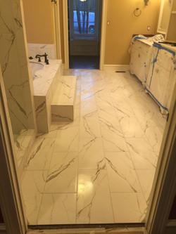 Tile installation in Restroom