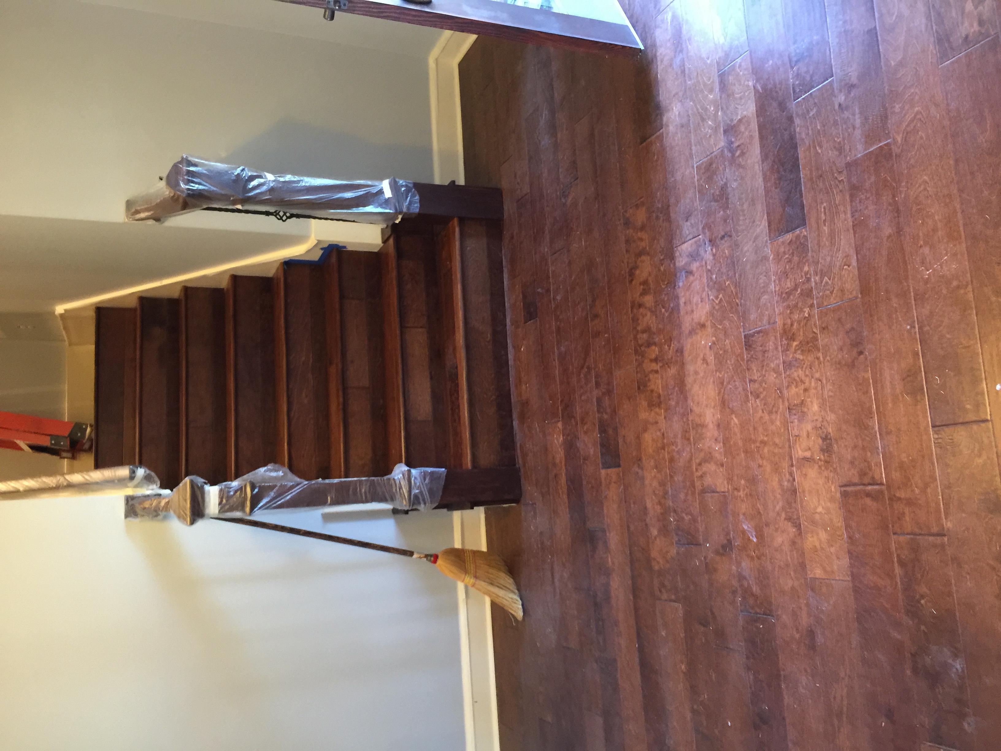 Residential wood floor installation