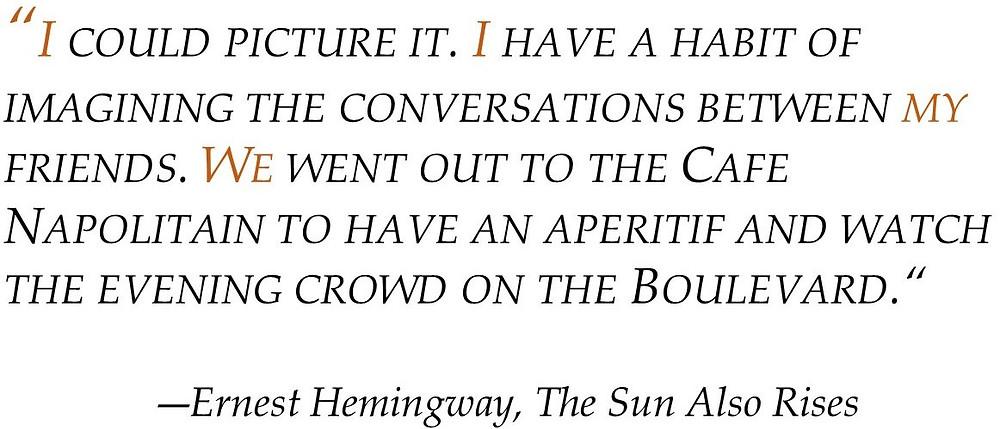 POV Post - First Person sentence Hemingway