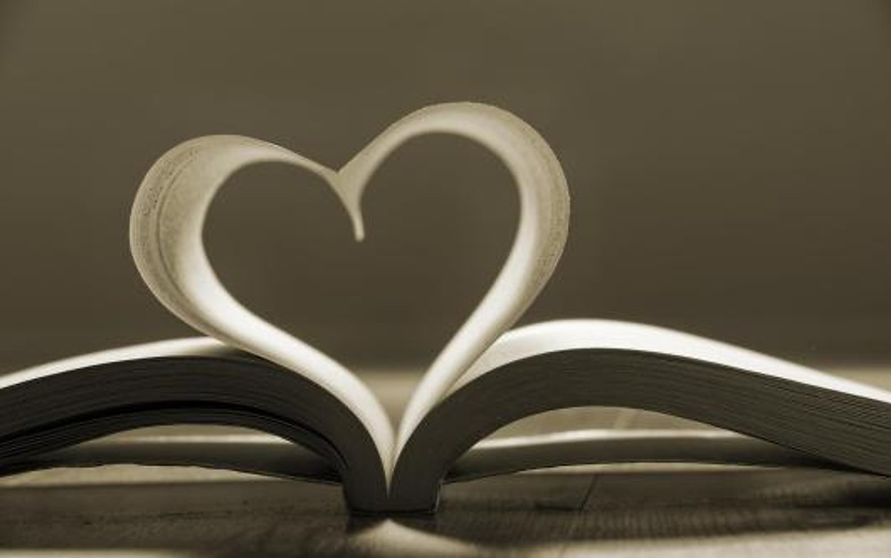Open book with pages forming heart shape