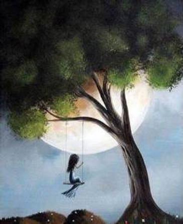 Carefree girl on swing