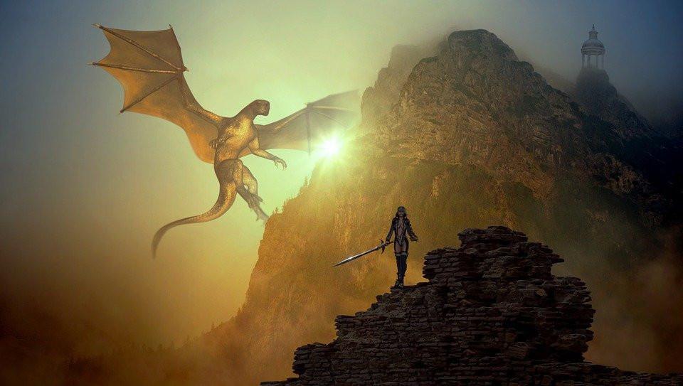 Fantasy, Dragons, Mountain, Light, Sage, Scene, Fighter