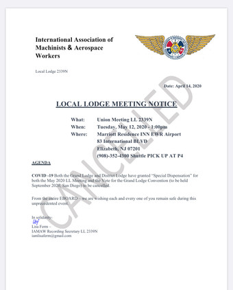Local Lodge Meeting for May Cancelled