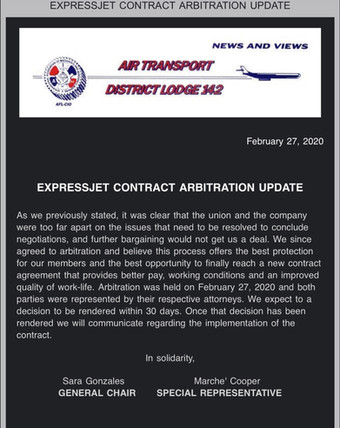 ExpressJet Contract Arbitration Update