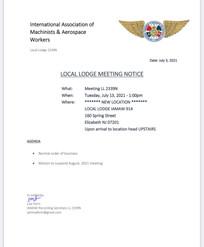 July Agenda for LL2339N Meeting