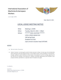 March Local Lodge Agenda