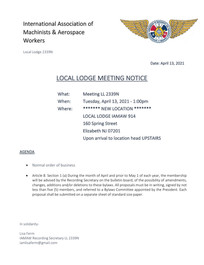 April Agenda For LL2339n Meeting