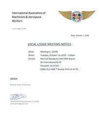 Agenda for LL2339n October Meeting