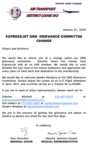 ORD Grievance Rep Change