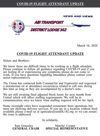 COVID-19 Flight Attendant Update