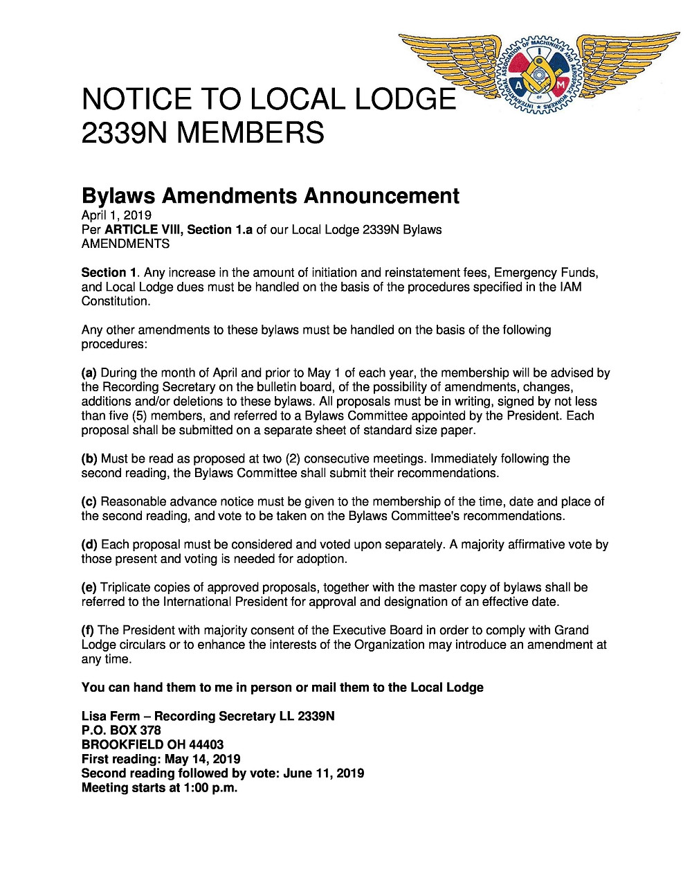 Amendments to Bylaws Announcement