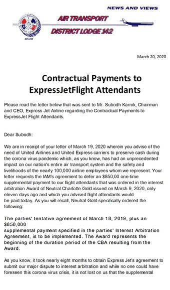 Contractual Payments to ExpressJet    Flight Attendants