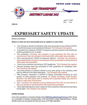 ExpressJet and CommutAir Safety Update