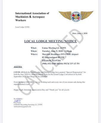 Local Lodge 2339n June Agenda