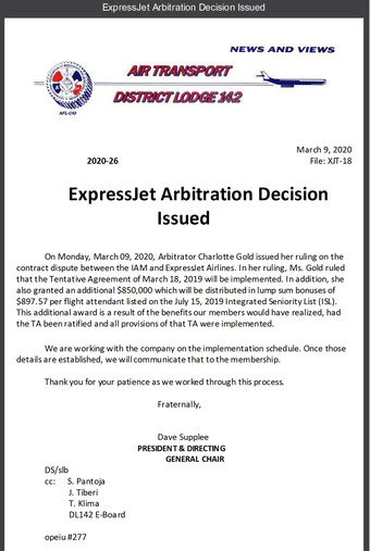 ExpressJet Arbitration Decision Issued