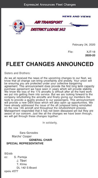 Fleet Changes Announced