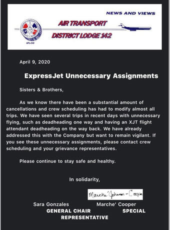 ExpressJet and CommutAir Unnecessary Assignments