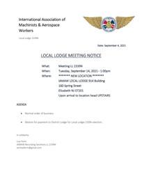September Agenda for LL2339N Meeting