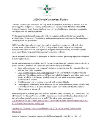 2020 Coronavirus Update