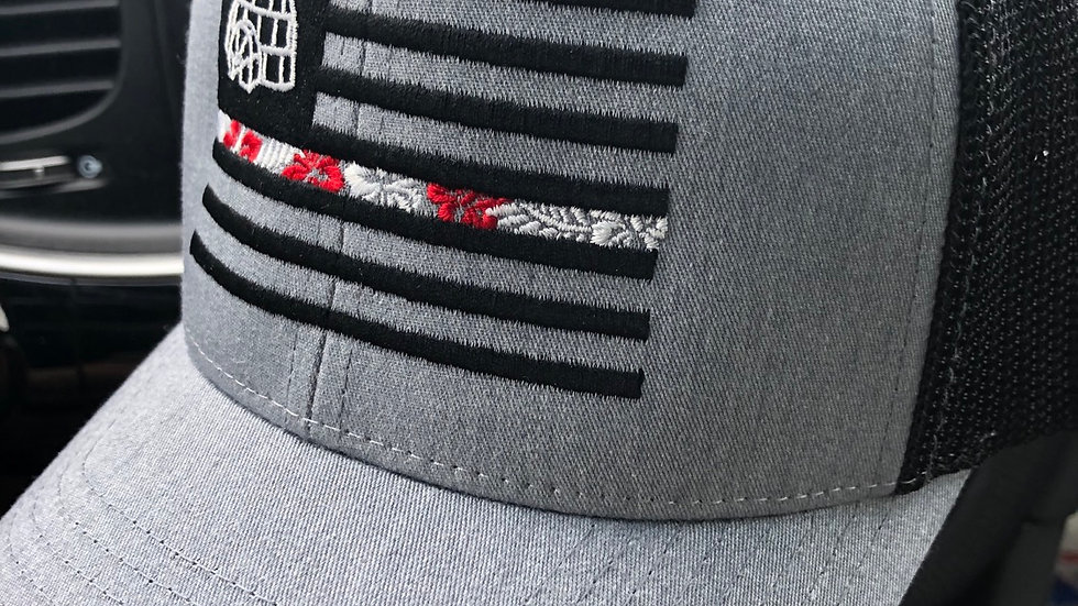 FlexFit Mesh Heather Gray Embroidered Flag Hat