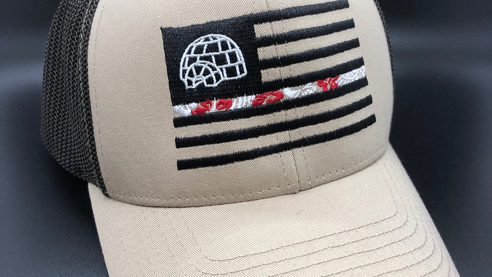 SnapBack Khaki/Coffee Trucker Embroidered Hat