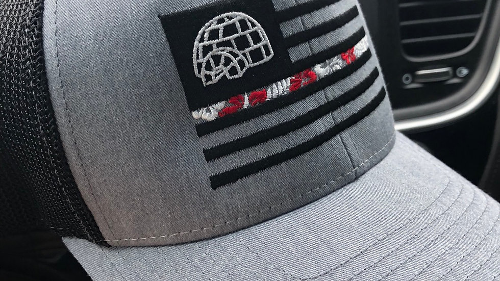 Heather Gray Mesh SnapBack Embroidered Flag Hat