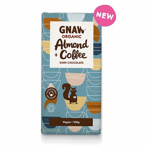 """GNAW CHOCOLATE"" Organic Almond & Coffee Dark Chocolate . Vegan 🌱100gr(0,22lb)"