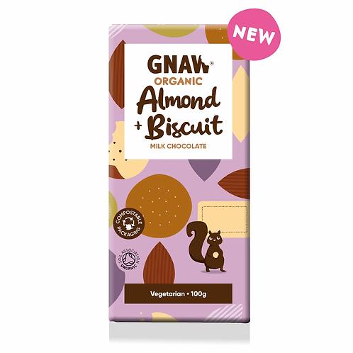 """GNAW CHOCOLATE"" Organic Almond & Biscuit Milk Chocolate Bar 100gr (0,22lb)"
