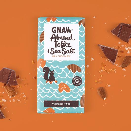GNAW CHOCOLATE ALMOND, TOFFEE AND SEA SALT MILK CHOCOLATE BAR 100GR UAE