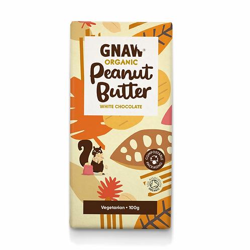 """GNAW CHOCOLATE"" Organic Peanut Butter White Chocolate Bar 100gr (0,22lb)"