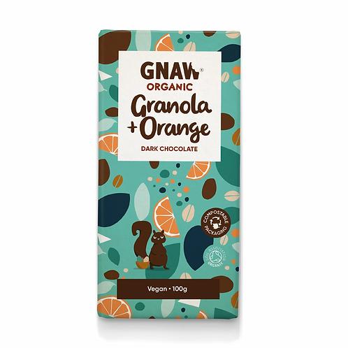"""GNAW CHOCOLATE"" Organic Granola & Orange Dark Chocolate Bar 100gr (0,22lb)"