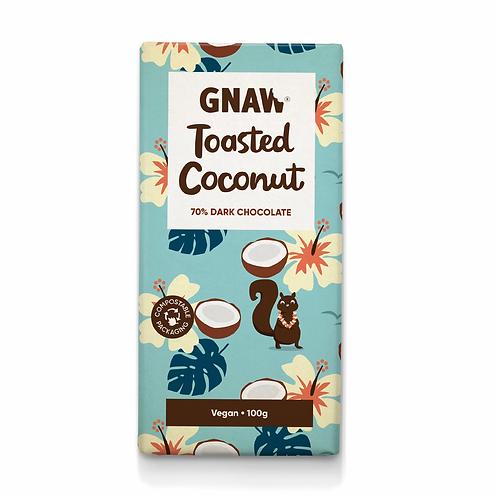 """GNAW CHOCOLATE"" Toasted Coconut 72% Dark Chocolate Bar • Vegan 🌱100gr (0,22lb)"