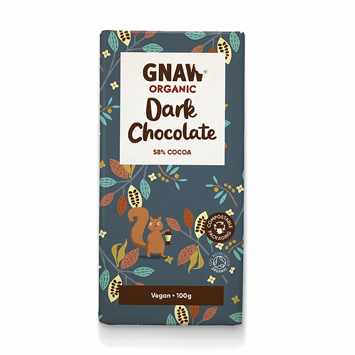 """GNAW CHOCOLATE""  58% Dark Chocolate Bar . Vegan 🌱100gr (0,22lb)"