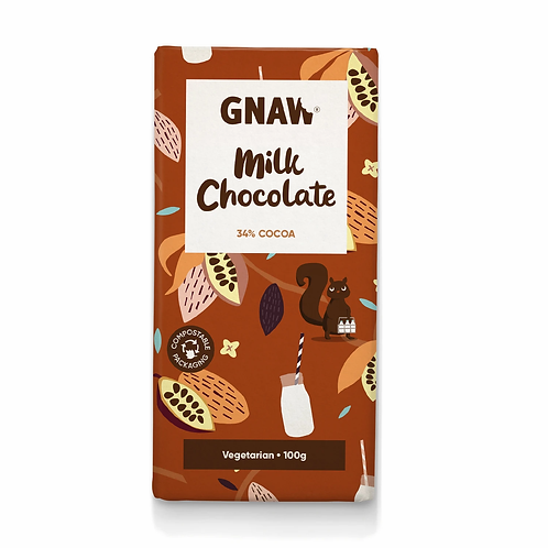 """GNAW CHOCOLATE"" Milk Chocolate Bar 100gr (0,22lb)"