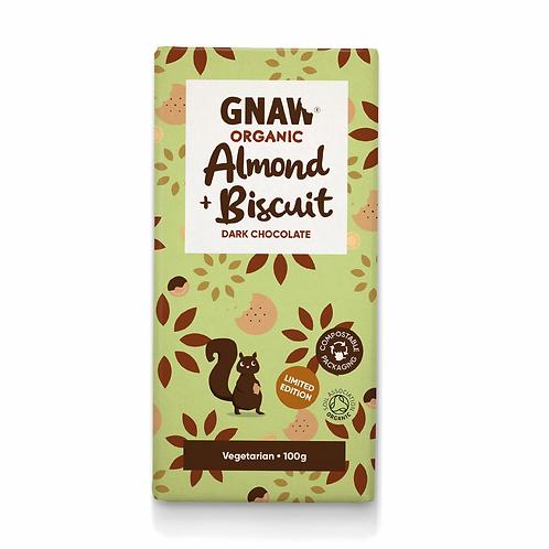 """GNAW CHOCOLATE"" Organic Almond & Biscuit Dark Chocolate Bar 100gr (0,22lb)"