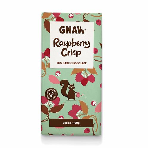 """GNAW CHOCOLATE"" Raspberry Crisp Dark Chocolate Bar • Vegan  🌱100gr  (0,22lb)"