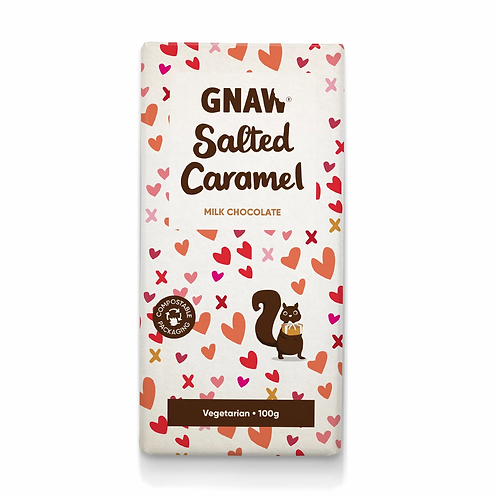"""GNAW CHOCOLATE"" Salted Caramel Milk Chocolate Bar 100gr (0,22lb)"