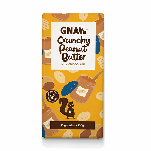 """GNAW CHOCOLATE"" Crunchy Peanut Butter Milk Chocolate Bar 100gr (0,22lb)"