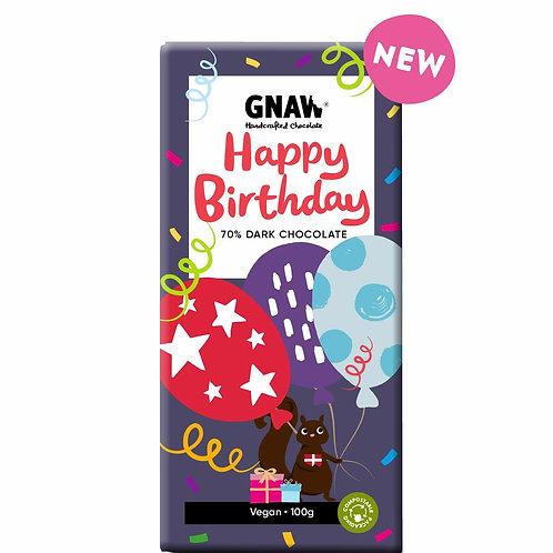 """GNAW CHOCOLATE"" Happy Birthday Dark Chocolate Bar 70% • Vegan 🌱 100gr (0.22lb)"