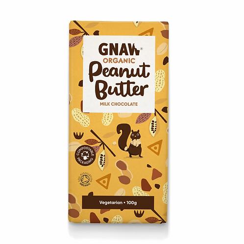 """GNAW CHOCOLATE"" Organic Peanut Butter Milk Chocolate Bar 100gr (0,22lb)"