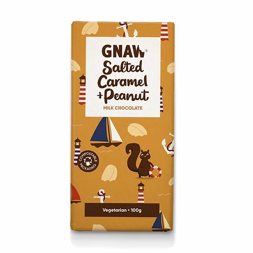 """GNAW CHOCOLATE"" Salted Caramel & Peanut Milk Chocolate Bar 100gr (0,22lb)"