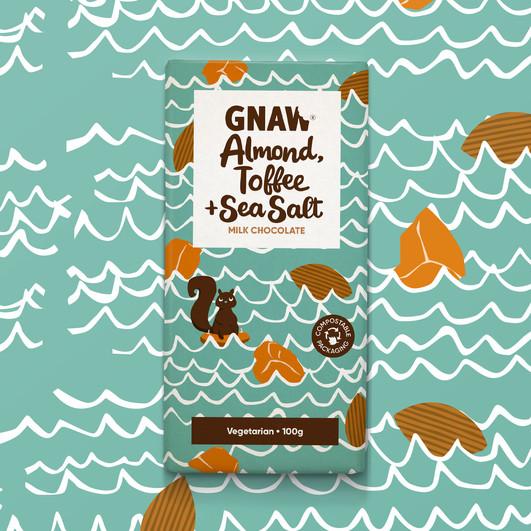 GNAW CHOCOLATE ALMOND TOFFEE AND SEA SALT 100GR UAE