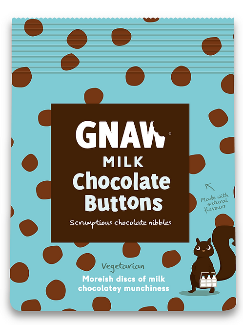"""""""GNAW CHOCOLATE""""Milk chocolate buttons 150gr (0,33lb)"""