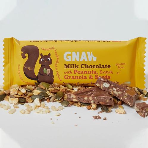 """GNAW CHOCOLATE"" Milk Chocolate With Granola, Peanuts & Seeds 35gr (0,08 lb)"