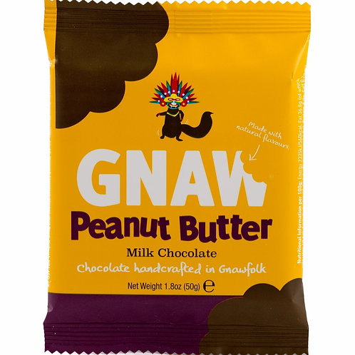 """GNAW CHOCOLATE"" Peanut butter milk chocolate mini-bar 50gr (0,11 lb)"