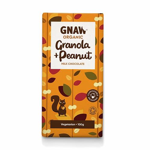 """GNAW CHOCOLATE"" Organic Granola & Peanut Milk Chocolate Bar 100gr (0,22lb)"