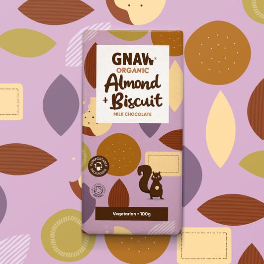 GNAW  CHOCOLATE ORGANIC ALMOND BISCUIT MILK CHOCOLATE 100GR UAE